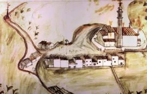 Il centro di Chiesanuova in una carta del 1700